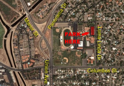 Garces High school parking lot location map